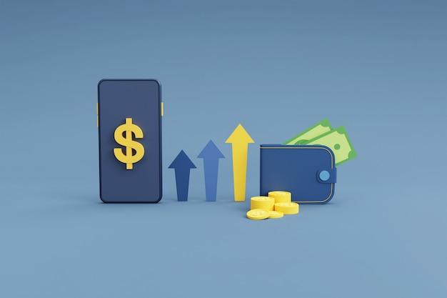 전화 및 동전 온라인 환전 및 금융 개념