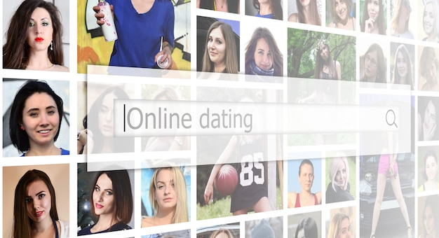 Online dating. the text is displayed in the search box on the ba