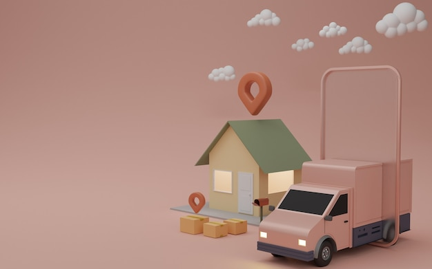 Online delivery service app concept, delivery van and mobile phone with pin on house. 3d rendering