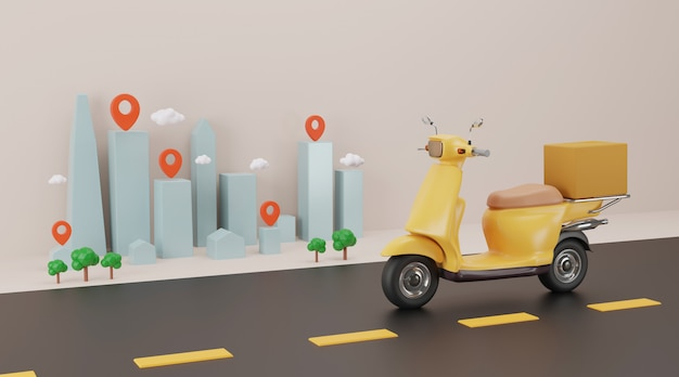 Online delivery service by scooter. 3d rendering.