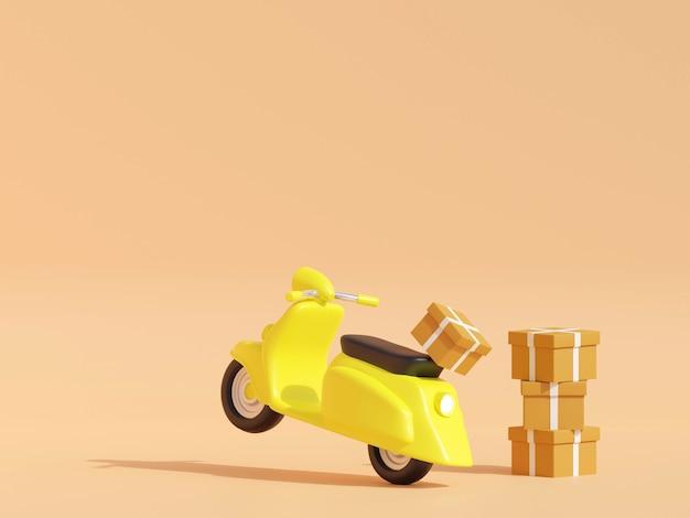 온라인 배달 서비스 개념 온라인 주문 추적 배달 가정 및 사무실 3d 렌더링