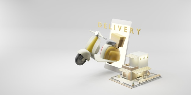 Online delivery service smartphones with delivery bikes and merchandise shops 3d illustration