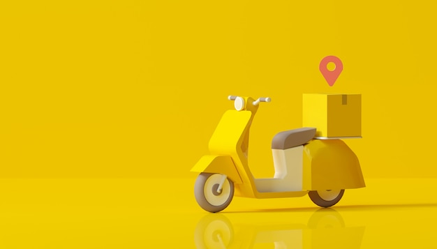 Online delivery with scooter service on yellow background
