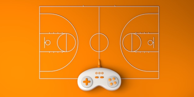 Online e-sports concept. gamepad with basketball court. gamer. gaming. banner. 3d illustration. Premium Photo