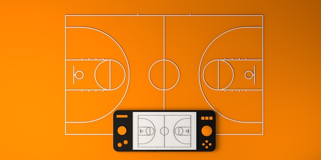 Online e-sports concept. gamepad with basketball court. gamer. gaming. banner. 3d illustration.
