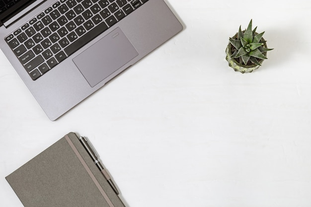 Online education or business concept. work space flat lay. desktop with laptop, copybook, pen and small plant. top view. copy space.
