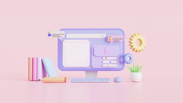 Online education concept for website banners, minimal, posters, and advertising. 3d illustration