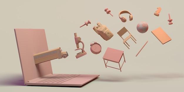 Концепция онлайн-образования с экраном компьютера с плавающими образовательными объектами 3-я иллюстрация