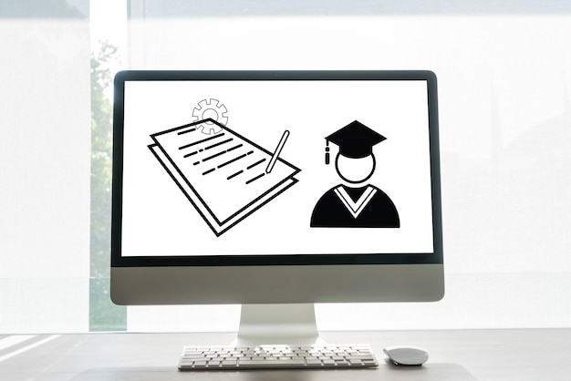 Online education, icon paperwork document sheet and graduated study abroad international university conceptual in desktop computer monitor. exam test certificate study can learn by internet technology