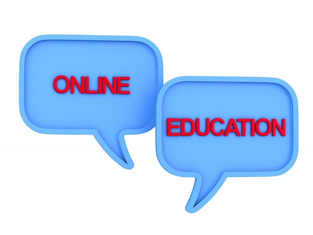 白い背景の上のオンライン教育。分離された3dイラスト