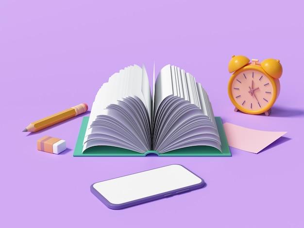 Концепция онлайн-образования или электронного обучения, открытые книги на фиолетовом