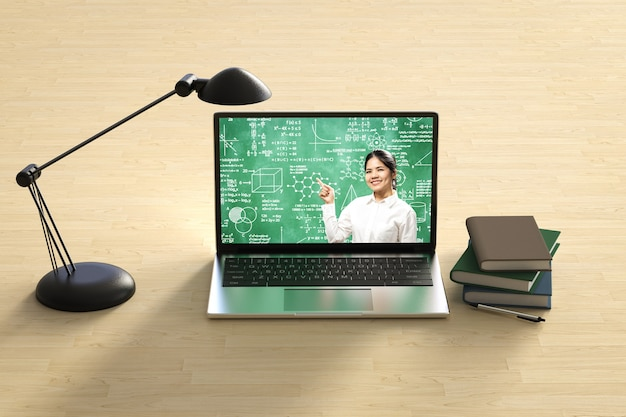 Online education with teacher teach on 3d rendering computer notebook