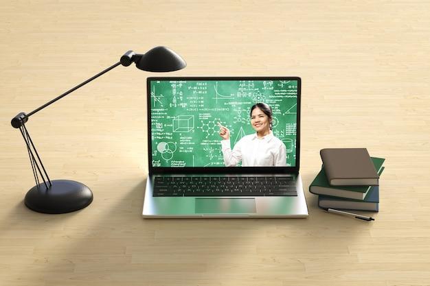 教師とのオンライン教育は、3dレンダリングコンピュータノートブックで教えます