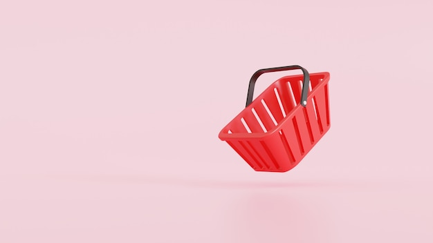 Интернет-еда и продуктовая концепция. красная пустая корзина для покупок на розовом фоне. 3d визуализация иллюстрации.