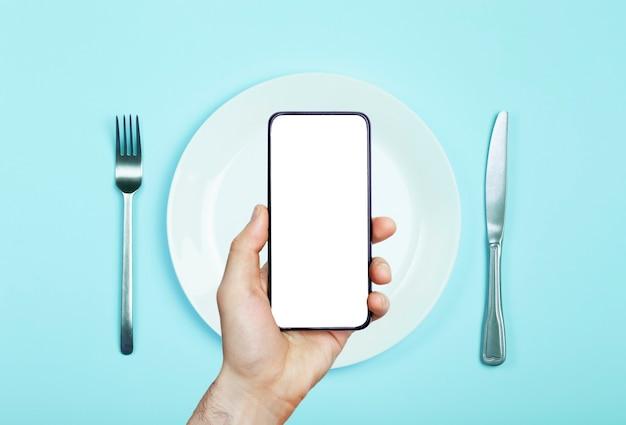 휴대 전화의 온라인 음식 배달 앱. 스마트 폰의 식품 시장 서비스.
