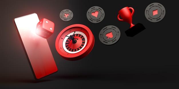 Баннер онлайн-азартных игр на смартфоне 3d иллюстрации концепция казино