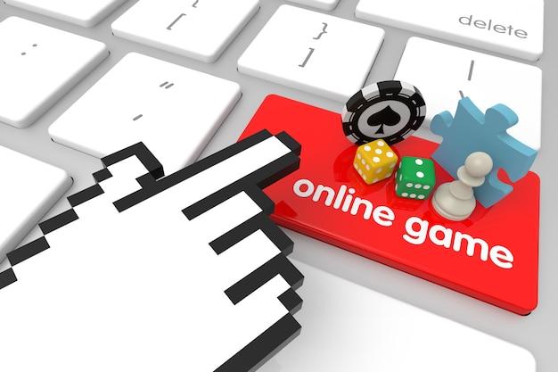 Клавиша ввода онлайн-игры с курсором в виде руки. 3d рендеринг