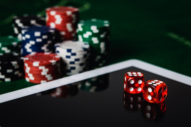 Online gaming and gambling concept, green felt,