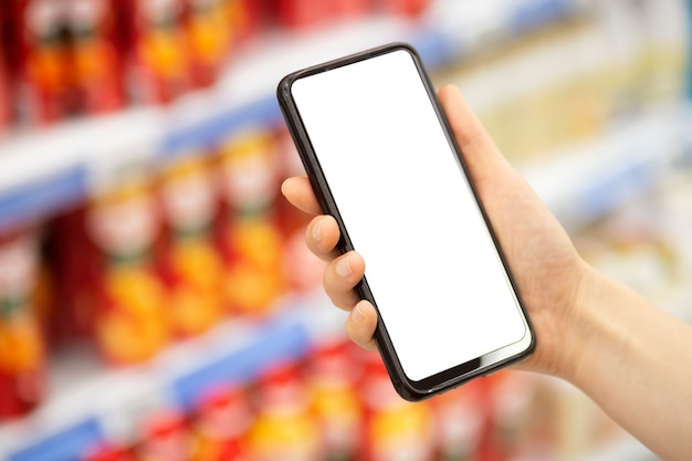 Online grocery delivery app in a mobile phone