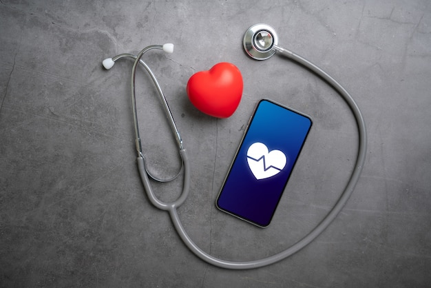Online health care icon application on smart phone