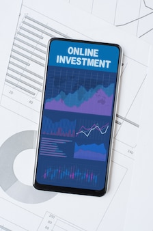 Online investment. smartphone with a mobile app