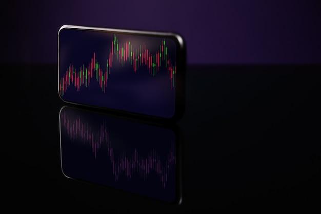 스마트폰을 통한 온라인 투자. 휴대폰 화면에 데이터 그래프 표시. 글로벌 거래소 플랫폼에서 주식 시장에 대한 매매