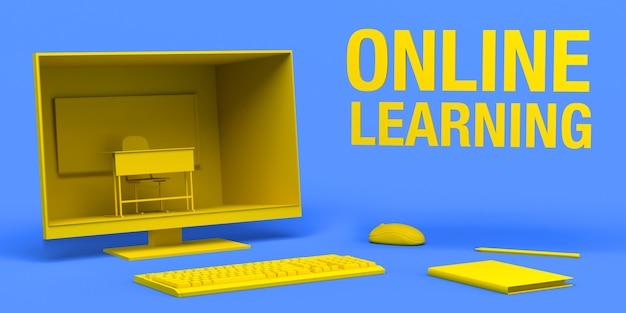 컴퓨터 및 학교 수업 노트북 및 연필 3d 일러스트와 함께 온라인 학습 개념