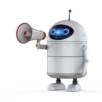 Концепция онлайн-маркетинга с 3d-рендерингом робота с мегафоном