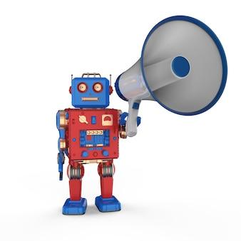 확성기와 3d 렌더링 로봇을 사용한 온라인 마케팅 개념