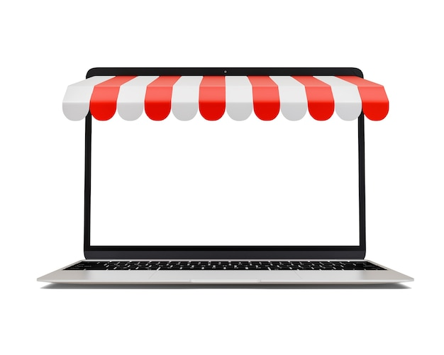 Online marketing and e-commerce business ideas on laptop isolated