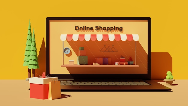 Online marketing landing page with 3d laptop front view
