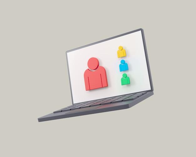 灰色の背景にオンライン会議3dアイコンビデオ会議ズームノートブック
