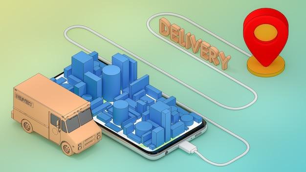 Online mobile application order transportation service.,delivery concept.,3d rendering.