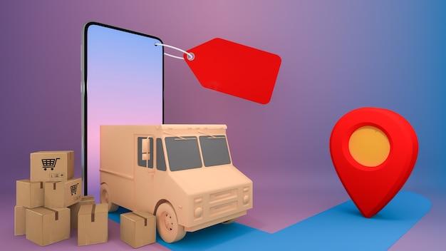 オンラインモバイルアプリケーション注文輸送サービス。オンラインショッピングと配達のコンセプト。