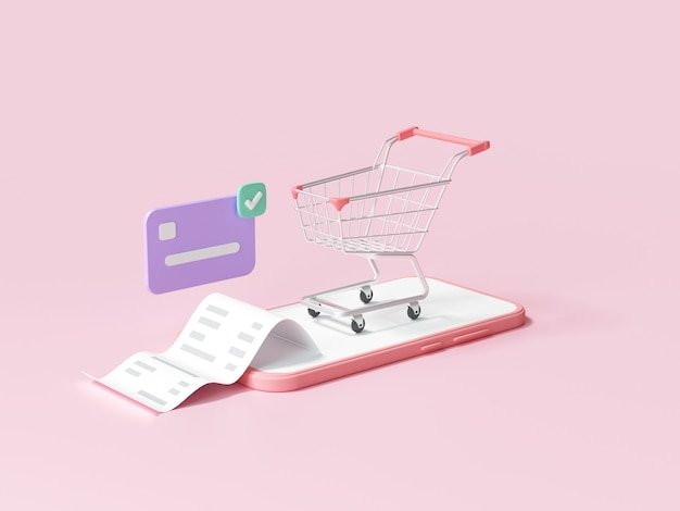 Online mobile shopping concept, shopping on smartphone with transaction credit card. 3d render illustration