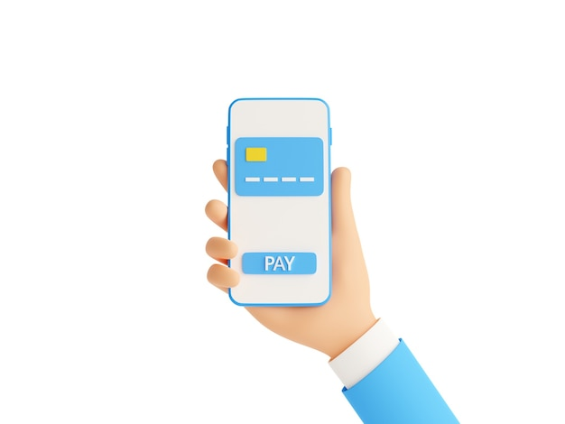 Online payment 3d render illustration. human hand in blue business suit holding mobile phone with credit card and pay button on touch screen - money transfer and electronic wallet concept.