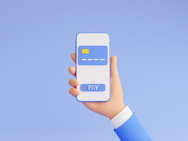 Online payment 3d render illustration with human hand in blue business suit holding mobile phone with credit card and pay button on touch screen. money transfer and electronic wallet concept.