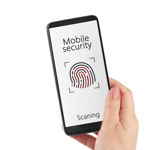 Online payment biometric identification concept female hand holding smartphone