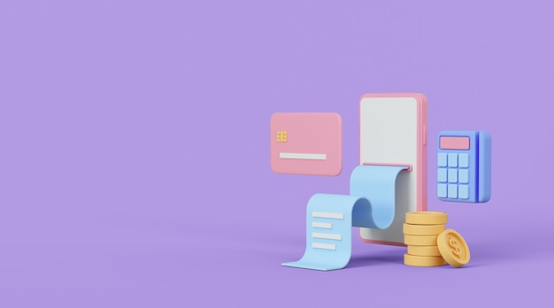 Online payment concept 3d illustration internet shopping and banking composition