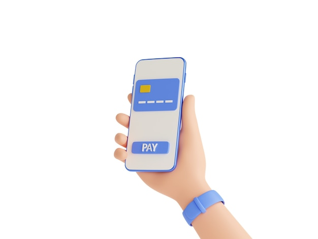 Online payment and electronic wallet 3d render illustration, human hand with wristwatches holding mobile phone with credit card and pay button on touch screen isolated on white background.