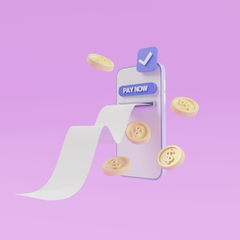 Online payment on a smartphone, bill coming out of the screen.  coins pay now. 3d render illustration