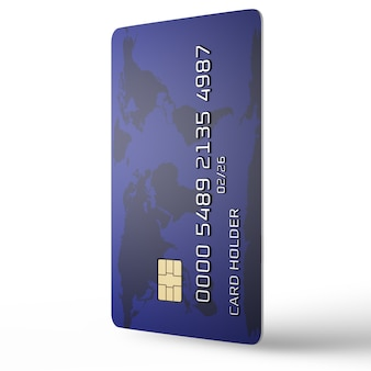Концепция онлайн-платежей. кредитная карта вертикально на белом фоне. вымышленный номер карты. 3d визуализация