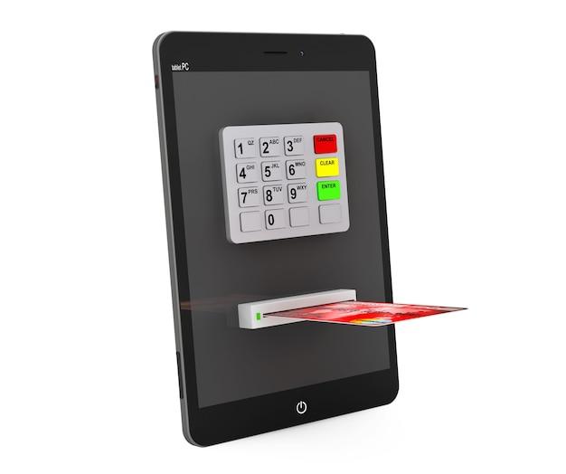 オンライン決済の概念。白い背景の上のatmとクレジットカードを搭載したタブレットpc