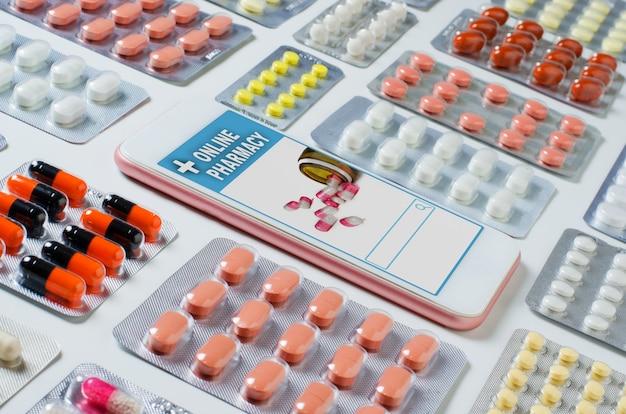 Интернет-аптека. приложение в вашем смартфоне для онлайн-заказа лекарств. много таблеток. плоская планировка