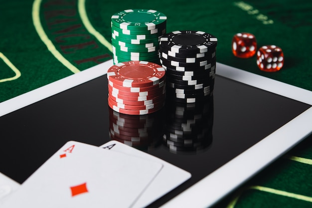 Online poker gambling concept