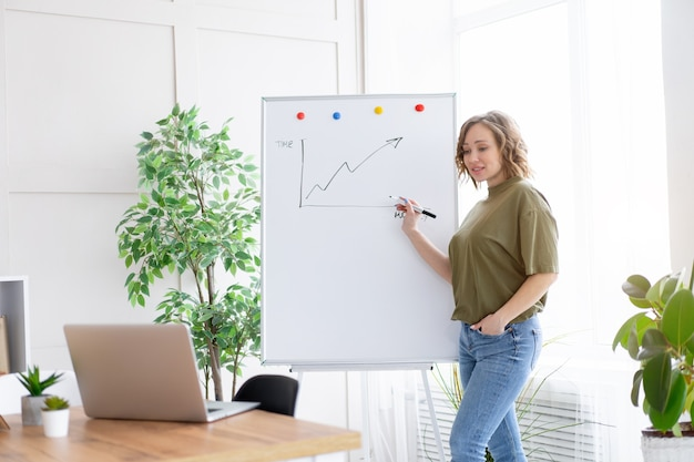 Online presentation, webinar, online meeting. young business woman speaks to the audience video call, video connection.