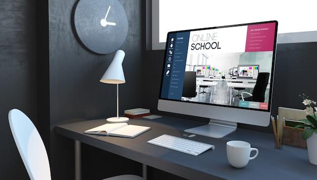 ネイビーブルーの3dレンダリングによるコンピューターデスクトップのオンラインスクール