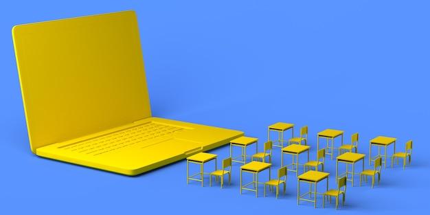 교실 책상 3d 그림 복사 공간 앞의 온라인 학교 노트북