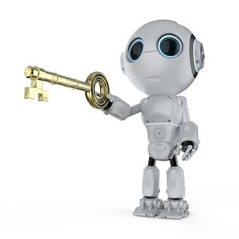 Концепция онлайн-безопасности с 3d-рендерингом мини-робот удерживает ключ
