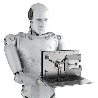 Концепция онлайн-безопасности с 3d-рендерингом робота с открытой дверью хранилища